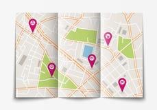 打开纸城市地图 免版税库存照片