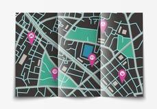 打开纸城市地图 库存图片