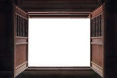 打开老木门和白色背景 库存照片