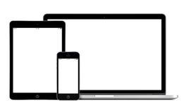 打开膝上型计算机智能手机和片剂个人计算机模板 免版税库存照片