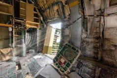 打开航空器的残破的门,光可见光  库存图片