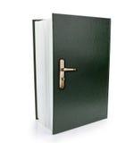打开获取知识和智慧的书和门把标志。 图库摄影