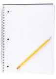 打开螺纹笔记本和铅笔 库存图片