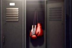 打开衣物柜和挂上的拳击手套 向量例证