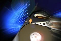 打开计算机硬盘驱动器,有未来蓝色作用的 背景 库存图片