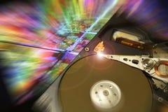 打开计算机硬盘驱动器,有postproduction作用的 免版税图库摄影