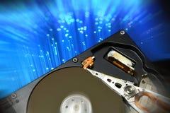 打开计算机硬盘驱动器,有postproduction作用的 图库摄影