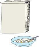打开谷类食品盒和碗 免版税库存图片