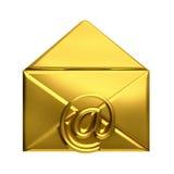 打开金黄信封电子邮件商标 免版税库存照片