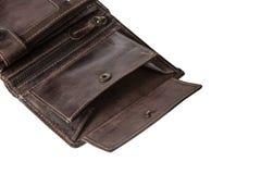 打开钱包,不用在白色隔绝的金钱 库存图片
