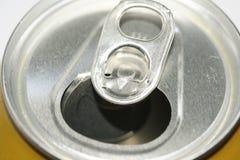 打开银色铝罐上面 免版税库存照片