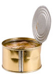 打开锡罐用在白色背景隔绝的鱼沙丁鱼 免版税图库摄影