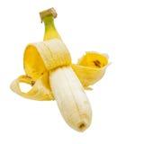 打开香蕉和果皮 皇族释放例证
