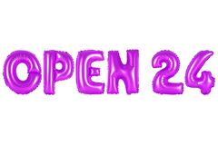 打开24个小时,紫色颜色 免版税库存图片
