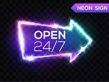 打开24 7个小时 霓虹ny符号体育场美国人 3d减速火箭的轻的箭头 图库摄影