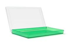 打开绿色塑料盒 库存图片