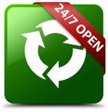 24/7打开绿色方形的按钮 库存照片
