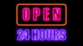 打开24-7霓虹灯广告,酒吧的减速火箭的样式牌或俱乐部, 3d回报计算机生成的背景 库存例证