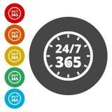 打开24/7 - 365, 24/7 365, 24/7 365标志 免版税库存照片