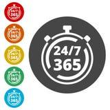 打开24/7 - 365, 24/7 365, 24/7 365标志 免版税图库摄影