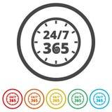 打开24/7 - 365, 24/7 365, 24/7 365签字,包括的6种颜色 向量例证
