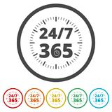 打开24/7 - 365, 24/7 365, 24/7 365签字,包括的6种颜色 免版税库存照片