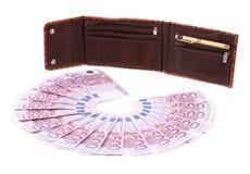 打开walet和欧元钞票 图库摄影