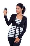 打录影电话的女孩 免版税图库摄影
