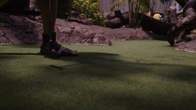 打微型高尔夫球的年轻女人 在框架的腿 r 在孔的射击球 影视素材