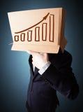 打手势与在他的头的一个纸板箱的商人有diag的 免版税库存照片