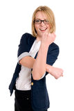 打手势与她的拳头的新女实业家妇女 免版税库存图片