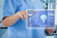 打手势与手指3d的女性医生的中央部位的综合图象 免版税库存照片