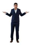 打手势商人的画象,当穿着衣服时 免版税图库摄影