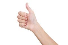 打手势标志的妇女的手翻阅在最前面的边 库存图片