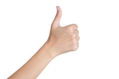 打手势标志赞许后部的妇女的手 免版税库存照片