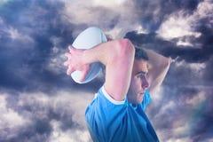 打手势用手3D的橄榄球球员的综合图象 免版税图库摄影