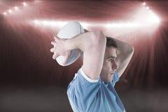 打手势用手3D的橄榄球球员的综合图象 图库摄影