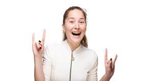 打手势的女孩微笑和 免版税图库摄影
