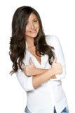 打手势赞许的愉快的微笑的女实业家 免版税库存照片