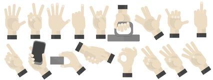 打手势集合的手 免版税库存照片