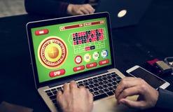 打扑克和赌博射击的不同的成人 免版税库存照片