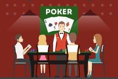 打扑克的娱乐场 库存例证