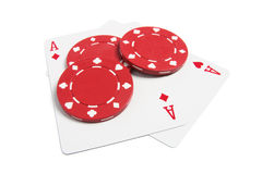 打扑克的看板卡筹码 免版税库存图片