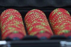 打扑克的看板卡筹码 库存照片