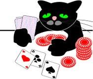打扑克的黑色动画片猫 免版税库存照片