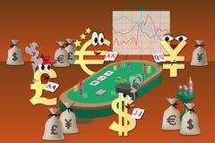 打扑克的货币 库存照片