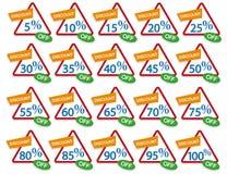 打折百分号,销售标签,折扣率,价格标志象,百分之标记,折扣商标,销售横幅,价牌 向量例证