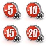 打折5, 10, 15, 20%在白色背景设置的销售3d象 免版税图库摄影