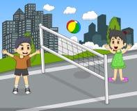 打排球的孩子在公园动画片 库存照片