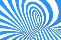 打旋光学3D幻觉光栅例证 对比蓝色和白色螺旋条纹 与线的几何冬天花托图象 免版税库存照片